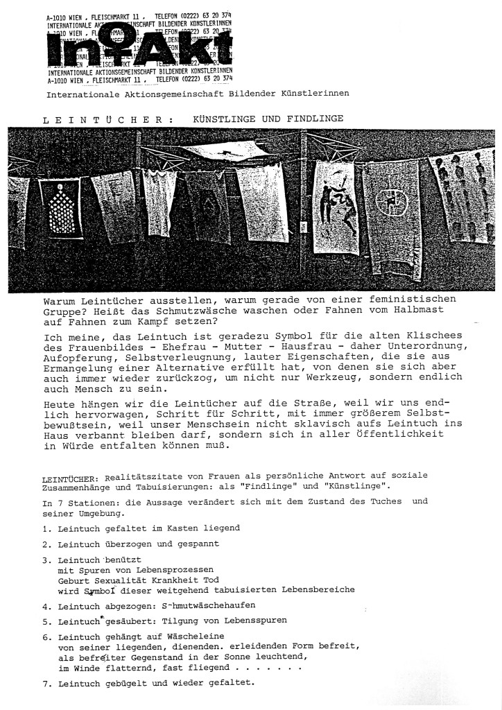 Intakt: Leintücher: Günstlinge und Findlinge (Sheets: Artists/Minions and Foundlings), 1982