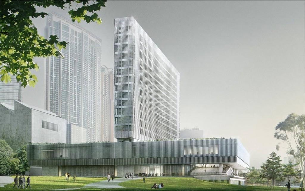 Darstellung M+ Museum, entworfen von Herzog & de Meuron und TFP Farrells. Foto: Herzog & de Meuron und West Kowloon Cultural District Authority