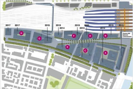 Auftakt für die Stadtteilentwicklung Europaallee: Mit der Eröffnung des Hochschulgebäude für die PHZ im Baufeld A 2012 ist die erste Etappe abgeschlossen (Europaallee)