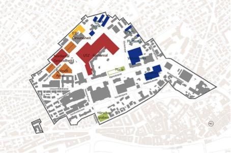 Mögliche Neubaugebiete im gewachsenen Hochschulquartier. Die implizite Verzahnung von Hochschulbauten und Stadt soll durch eine raumplanerisch systematisch geplante ersetzt werden (Masterplan Hochschulgebiet Zentrum)