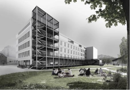 """Visualisierung des neuen Standorts der Kunsthochschule in Luzern, angrenzend an den Emme-Park als Freifläche und öffentliche Zone (Visualisierung """"Bau 745"""", EM2N)"""
