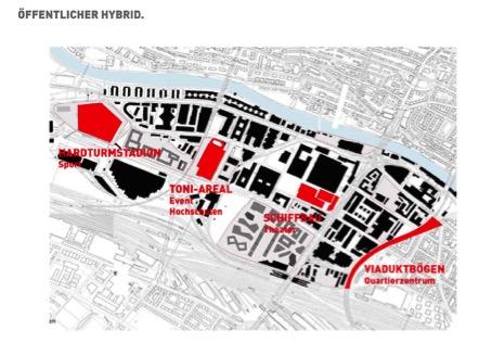 Das Toni-Areal, mit rund 5000 Dozierenden, Studierenden und Angestellten, das neue Bildungszentrum inmitten des Entwicklungsgebiets Zürich-West. Das projektierte Stadion mit Mantelnutzung wurde vom Stimmvolk abgelehnt. (EM2N)